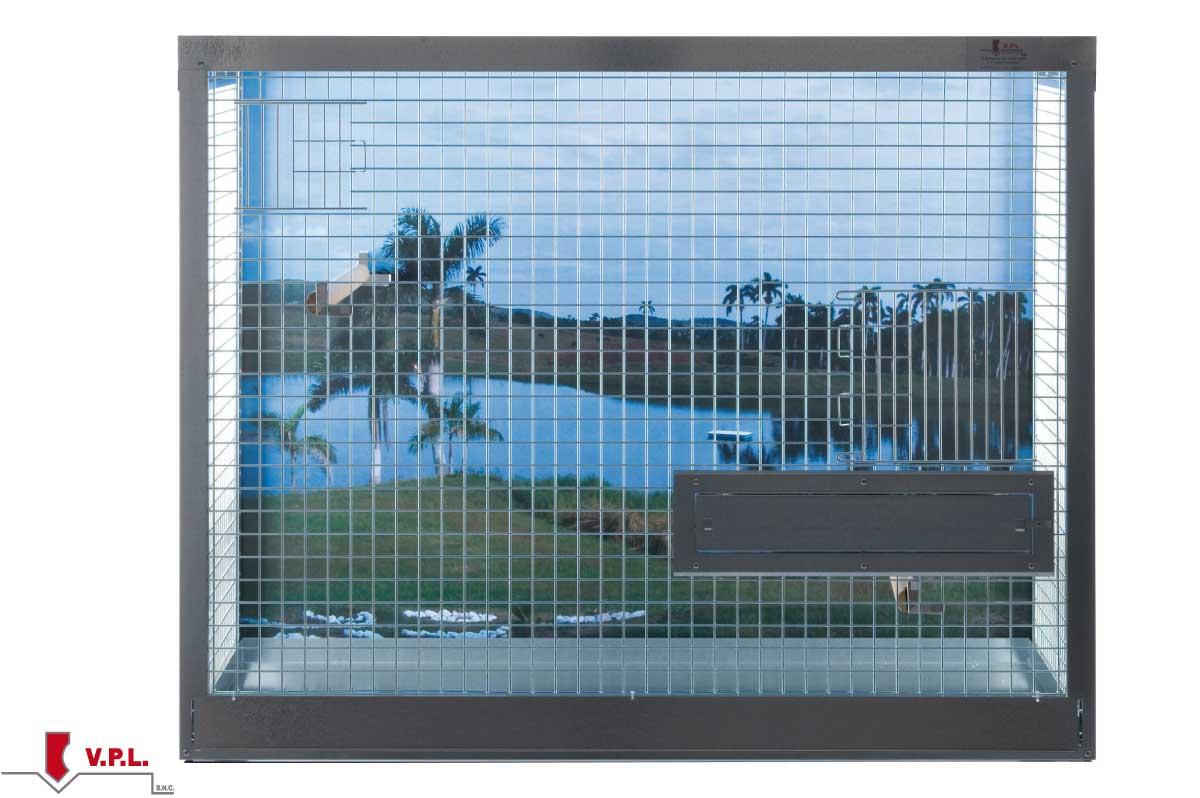 gabbia per uccelli di taglia media con pannello personalizzato